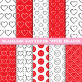 Seamless patterns with hearts Stock Images