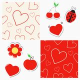 Seamless patterns with hearts and stickers. Seamless patterns with hearts and cute red stickers Royalty Free Stock Photos
