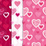 Seamless patterns with hearts. Valentine's day. Love background Royalty Free Stock Image