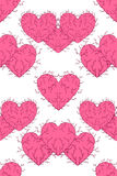 Seamless patterns with hearts. Vector decorative collection of hearts Royalty Free Stock Images