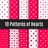 Seamless patterns of hearts. Vector set. Ten seamless patterns of hearts Royalty Free Stock Image
