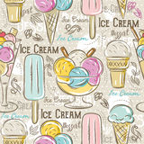 Seamless Patterns with ice cream, vector Stock Image