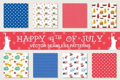 Seamless patterns for independence day of America, 4th July. Seamless patterns for independence day of America, 4th of July. American symbols. Wrapping paper vector illustration