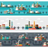 Seamless patterns of industrial power plants in Royalty Free Stock Images