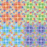 Seamless patterns with irregular geometric shapes. Set of four seamless abstract patterns in different color solutions with irregular geometric shapes Stock Photo