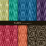 Seamless patterns knitting style Royalty Free Stock Photography
