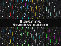Seamless patterns with laser beams. Background in the retro style of the 80s. Vector Stock Image