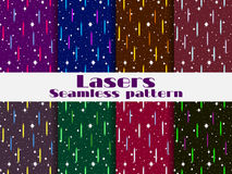 Seamless patterns with laser beams. Background in the retro style of the 80s. Vector Royalty Free Stock Photography
