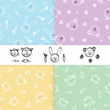 Seamless patterns for little boy and girl. Set of hand drawn  Stock Image