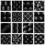 Set of halftone dotted patterns. 16 seamless patterns made of halftone-like sets of dots. Graphics are grouped and in several layers for easy editing. The file Royalty Free Stock Photography
