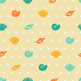 Seamless patterns of marine symbols. Royalty Free Stock Photo
