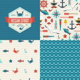 Seamless patterns of marine symbols and label. Royalty Free Stock Photo