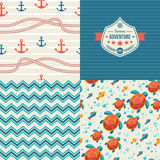 Seamless patterns of marine symbols and label in Stock Photography