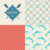 Seamless patterns of marine symbols and label. Stock Image