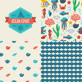 Seamless patterns of marine symbols and label. Use to create quilting patches or seamless backgrounds for various craft projects. Sea life. Different sea shells royalty free illustration