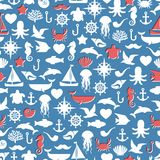 Seamless patterns of marine symbols. Vector Stock Image