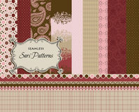 Seamless Patterns, matching ribbons and borders Stock Photography