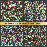 Seamless patterns in memphis style. 80s 90s style. Vector colorful illustration royalty free illustration