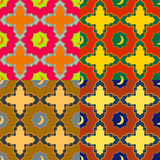 Seamless patterns in mosaic style Arabic. Four colored vector seamless patterns in mosaic style Arabic Royalty Free Stock Image
