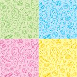Seamless patterns with music symbols stock illustration