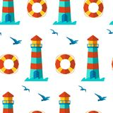 Seamless patterns nautical elements vector Royalty Free Stock Photos