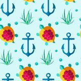 Seamless patterns nautical elements vector Royalty Free Stock Photo