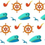 Seamless patterns nautical elements vector Stock Photography