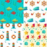 Seamless patterns nautical elements. Seamless  patterns with nautical elements wave collection paper. Ocean sea  blue texture wallpaper marine seamless patterns Stock Photography
