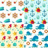 Seamless patterns nautical elements. Seamless  patterns with nautical elements wave collection paper. Ocean sea  blue texture wallpaper marine seamless patterns Stock Image