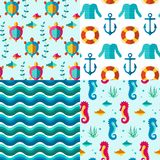 Seamless patterns nautical elements. Seamless  patterns with nautical elements wave collection paper. Ocean sea  blue texture wallpaper marine seamless patterns Stock Photos