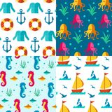 Seamless patterns nautical elements. Seamless  patterns with nautical elements wave collection paper. Ocean sea  blue texture wallpaper marine seamless patterns Stock Images