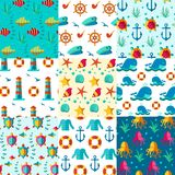 Seamless patterns nautical elements. Seamless  patterns with nautical elements wave collection paper. Ocean sea  blue texture wallpaper marine seamless patterns Royalty Free Stock Photos