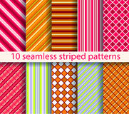 10 seamless patterns. No gradient, no transparency Royalty Free Stock Photo