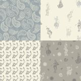 Seamless patterns with oriental drawings Stock Image