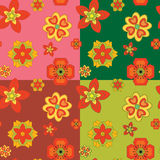 Seamless patterns of ornamental flowers. 4 seamless patterns of ornamental flowers Stock Image