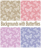 Seamless Patterns, Outline Butterflies Royalty Free Stock Image