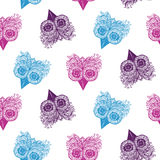 Seamless patterns of owls royalty free illustration