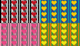 Seamless patterns with pearls and hearts Stock Photos