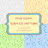 Seamless patterns with pencil ornament. Set of seamless patterns with pencil ornaments in different colors. Back to school background in four variants. All in stock illustration