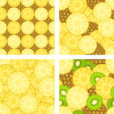 Seamless patterns with pineapple. Set of seamless patterns with pineapple and kiwi Royalty Free Stock Image