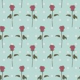 Seamless patterns pink roses retro dots. Vector Royalty Free Stock Photo