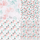 4 seamless patterns in pink, turquoise and grey Royalty Free Stock Photos