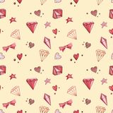Seamless patterns. Pink Watercolor set of elements for Valentine`s day. Scrapbook design elements. Typography poster Royalty Free Stock Photos