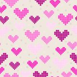 Seamless patterns with pixel hearts. For textiles, interior design, for book design, website background Royalty Free Stock Photo