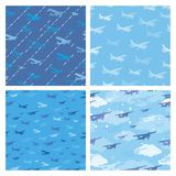 Seamless patterns with planes Royalty Free Stock Photography