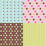 Seamless patterns, polka dot set Stock Photography
