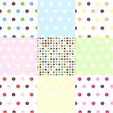 Seamless patterns, polka dot set Stock Image