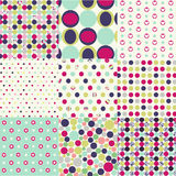 Seamless patterns, polka dot set royalty free illustration