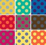 Seamless patterns, polka dots set Stock Image