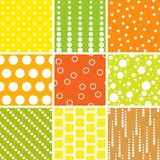 Seamless patterns, polka dots set Stock Photography